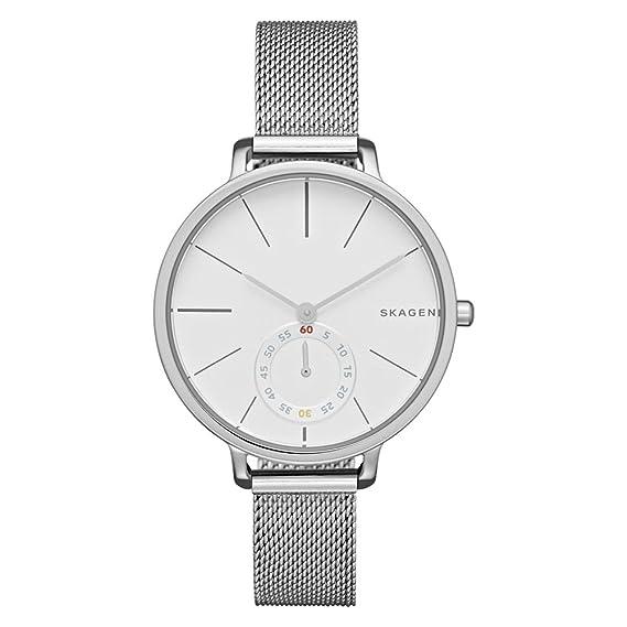 Skagen - Reloj de Cuarzo para Mujer con Blanco Esfera analógica Pantalla y Pulsera de Acero Inoxidable (Plata SKW2358: Amazon.es: Relojes