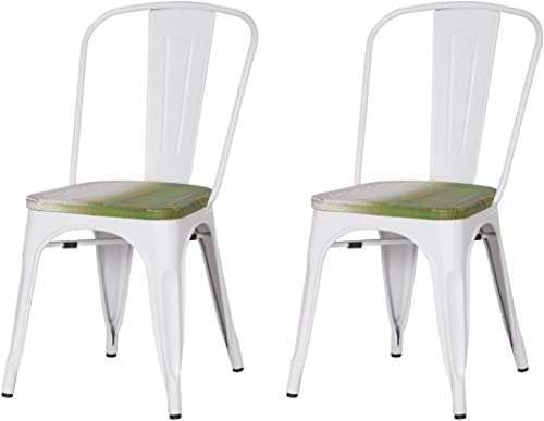 ELEGAN Metal Stackable Tolix Industrial Style Dining Chairs White with Wooden Indoor Outdoor Kitchen, Set of 2