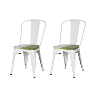 Superb ELEGAN Metal Stackable Tolix Industrial Style Dining Chairs White With  Wooden Indoor Outdoor Kitchen, Set