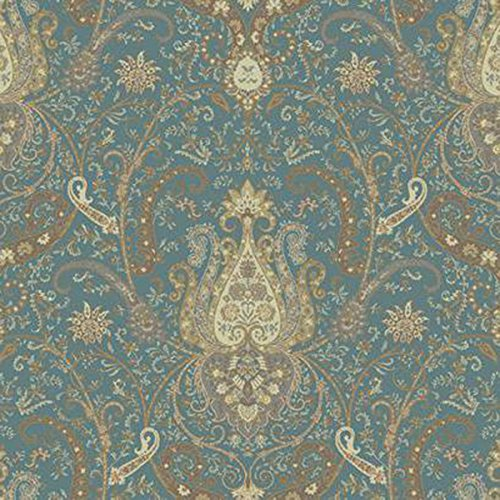 York Wallcoverings WA7721 Waverly Classics Byzance Wallpaper, Tea/Cocoa/Milk Chocolate/Steel Blue/White Asparagus