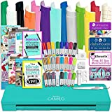 Silhouette Teal Cameo 3 Bluetooth Bundle with 12x12 Inch Oracal 651 Vinyl, 24 Sketch Pens, Guide Books, Online Class