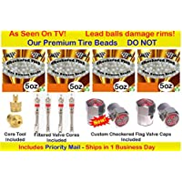 Checkered Flag Tire balance Beads, no lead and no damage free balancing beads, 4- 5oz bags of tire balancing beads with filtered valve cores, caps, 1 gold core tool w/ our white smooth tire beads