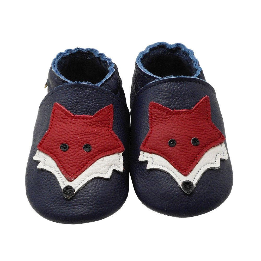 YIHAKIDS Baby Shoes Soft Leather Sole Infant Crib Toddler Baby Moccasins with Fox