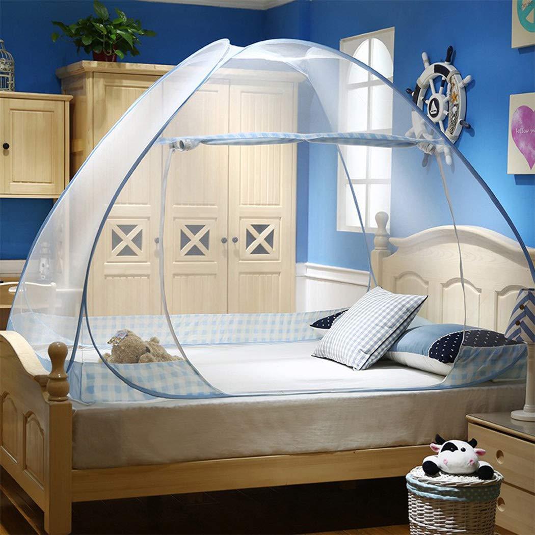 100 * 200 cm Tragbares Reise-moskitonetz Digead Moskitonetz Bett Faltbares Bett-Moskitonetz Einzelt/ür-Moskito-Campingvorhang Blauer Rand
