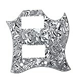 Kmise Z4911 Full Face Guitar Pickguard Fit for SG Standard Scratch Plate Black & White Shell 3-Ply