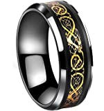 Tanyoyo Black Gold Celtic Dragon stainless steel Ring Wedding Band Jewelry Size 7-14