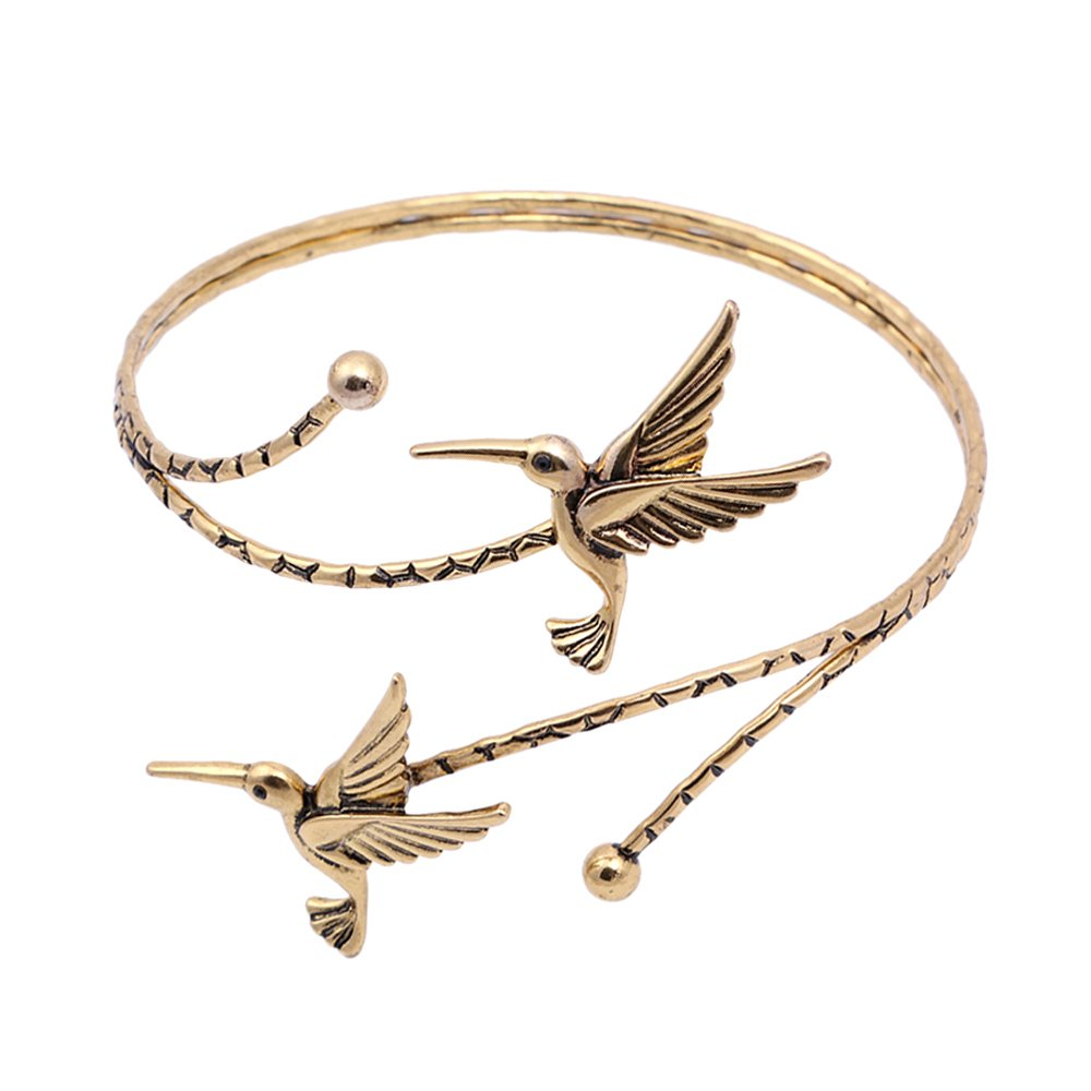 TUSHUO Simple Double Hummingbird Arm Bangle Bracelet Fashion Animal Bird Jewelry Upper Armlet Armband (Antique Gold) by TUSHUO (Image #1)