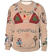 ENLACHIC Unisex Crew Neck 3D Digital Printed Ugly Christmas Pullover Sweatshirts