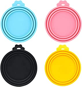 IVIA PET Food Can Covers/4 Pack/Universal BPA Free Silicone Dog Cat Food Can Lids for Dog and Cat Food/Fits All Standard Size Dog and Cat Can Tops for Pet Food Storage