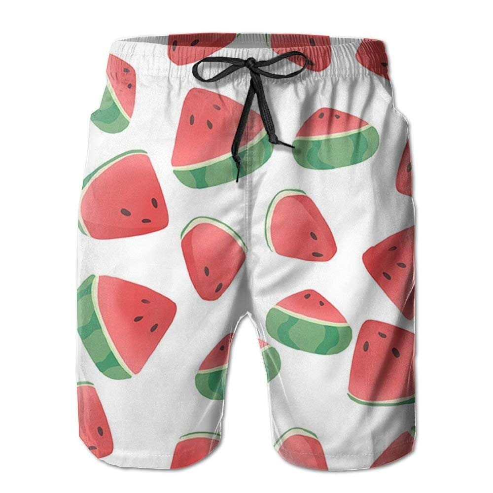 Watermelon Cute Mens Beach Shorts Classic Summer Surfing Trunks Surfing Running Swimming Watershorts with Pockets