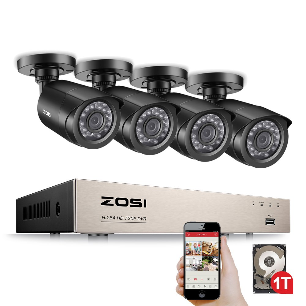 Zosi 8 Channel 1080n Cctv Camera System 1tb Surveillance Hdd W 4x Laptop To Security Wiring Diagram 720p In Outdoor Bullet Cameras Systems 20m Night Vision All Weather