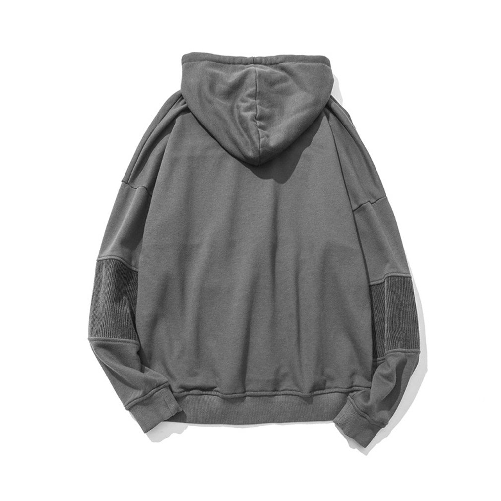 Honghu Mens Classic Fashion Solid Color Loose Hooded Light-Weight Sport Sweater