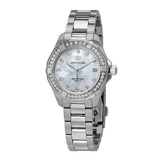BA0740 - Reloj de pulsera para mujer con esfera de nácar y diamantes blancos: Amazon.es: Relojes