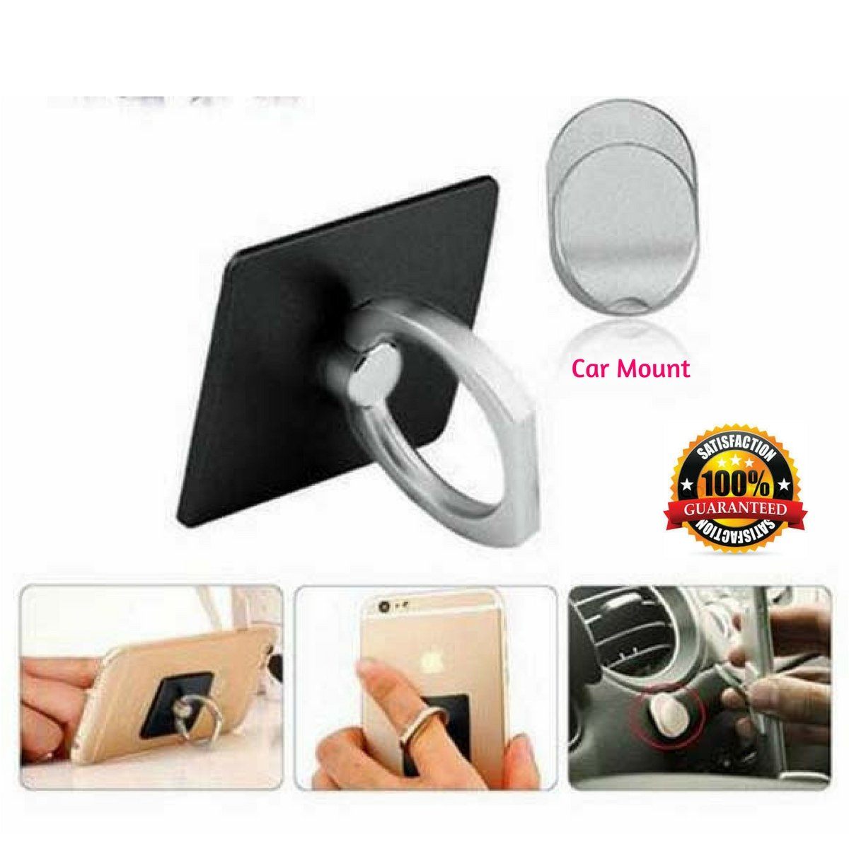 iPad or Tablet with Flat Rear Surface Compact /& Slim Rotates 360 /& Swivels 180 Acadia Premium Products 4326530021 Smartphone Includes Universal Car Mount Phone Ring for Secure /& Safe Grip and Stand Attaches to Any Phone