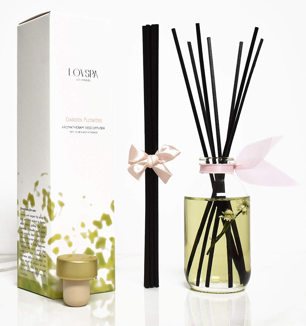 LOVSPA Garden Flowers Scented Sticks Reed Diffuser Set | A Floral Fragrance of Honeysuckle, Jasmine, Gardenias & Rose | Room Freshener for Your Home or Office | Great Gift IDEA!