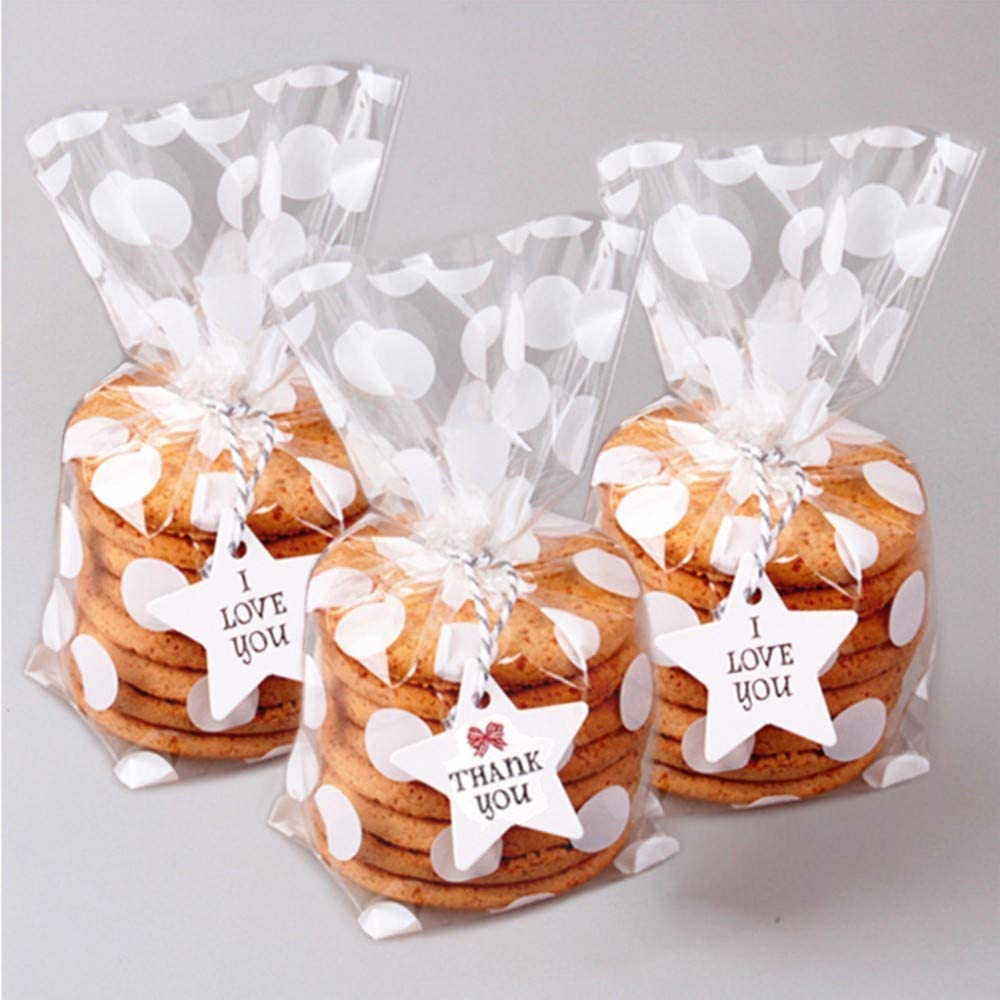 8.1 x 5 x 1.8 inch Clear Cellophane Treat Bags for Cookie Candy Snack Wrapping Wedding Gift Chrismas Party Favor 200 Pack White Polka Dot Candy Bags with Sliver twist ties