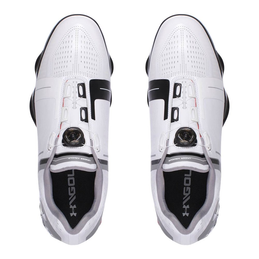 b76d87e6cc1 Amazon.com  Under Armour Men s Spieth One Boa Golf Shoes 1292754-100 - White Black Red   Sports   Outdoors