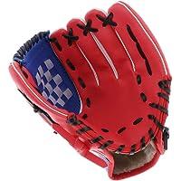 SM SunniMix Guante de Béisbol para Zurdos/Guante de Bateo Acolchado de Diferentes Tallas, Color Combinado de Rojo Azul…