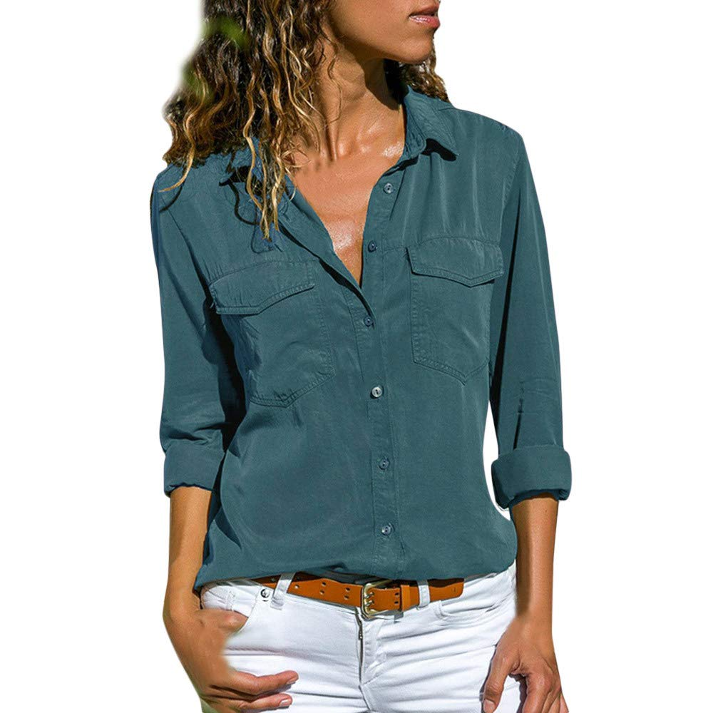 Women Blouse Casual Shirts Solid Color Long Sleeve Tops Turn Down Collar Pockets Button Front Shirt Tops