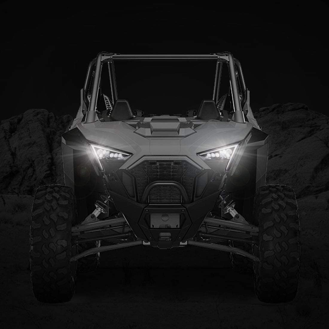 4 KEMIMOTO front Signature//Fang Light Turn Singal Assembies Compatible with 2020 2021 Polaris RZR PRO XP RZR Front Headlights with Turn Signal Function