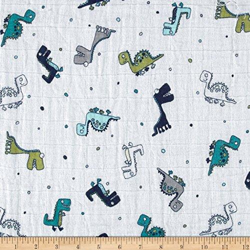 Shannon Fabrics Shannon Embrace Double Gauze Spotosaurus Cobalt Fabric by The ()
