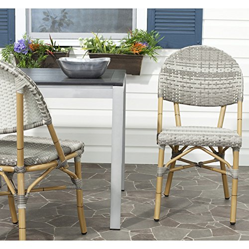 Safavieh FOX5203B-SET2 Home Collection Barrow Indoor/Outdoor Stacking Side Chair, Set of 2, Grey ()
