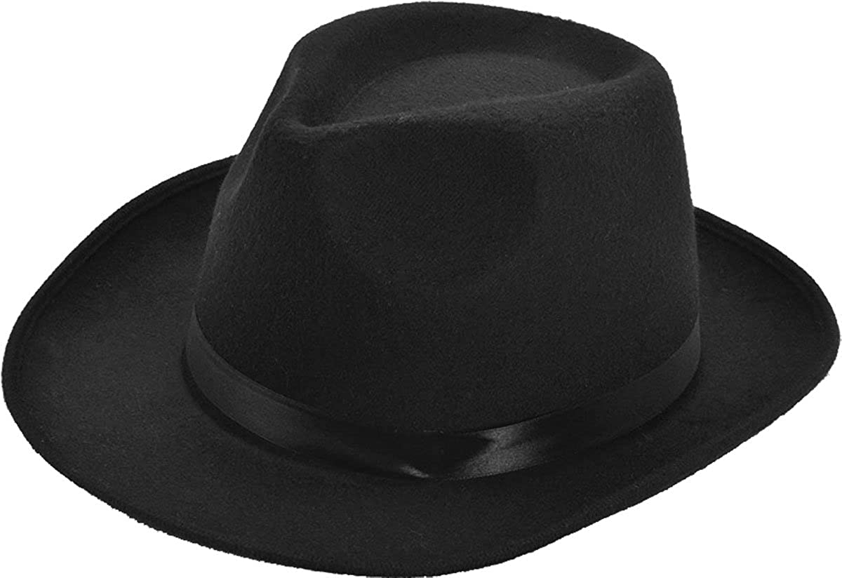2717644c07512 Men s 1920 s Godfather Fancy Dress Party Felt Wool Gangster Pimp Hat Black   Amazon.co.uk  Clothing