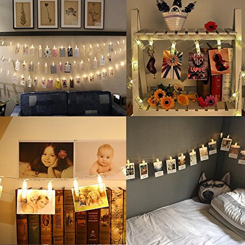 Diking LED Photo Clip String Lights for Hanging Photos Pictures Cards,for Bedroom Garden Wedding Valentine's day Decoration (9.8ft / 20 LED)