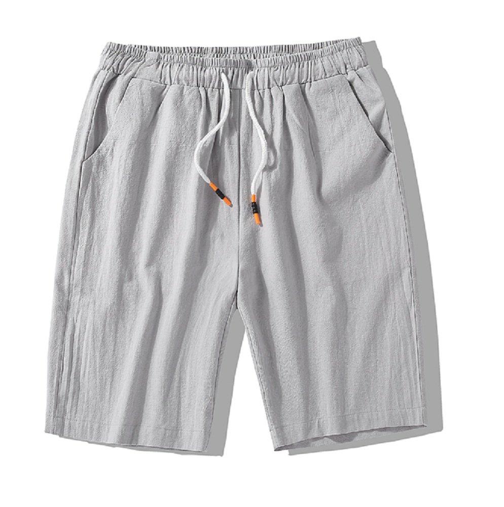 XRDshoes Men's Casual Cotton and Linen Pants Summer Beach Trend Fashion Linen Shorts (Lightgrey, XL)
