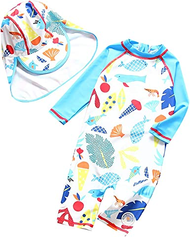 Baby Boy Girls One Piece Long Sleeve Swimsuit Sun Protective Bathing Suit