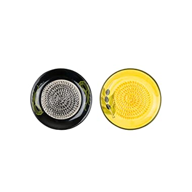 Ceramic Garlic Grater: 2 Pack, Yellow with Olive Leaf and Black with Abstract Pattern