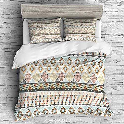 FULL Size Cute 3 Piece Duvet Cover Sets Bedding Set Collection [ Geometric,Native Culture Inspired Indigenous Pattern with an Assortment of Different Shapes Decorative,Multicolor ] Comforter Cover - Assortment Twill