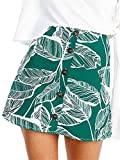 BerryGo Women's Casual High Wiast A Line Mini Skirts Print Button Down Summer Skirts Green,S