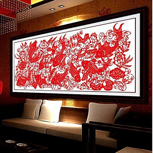 Cross stitch, fish, paper cutting, Chinese style, C0081