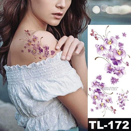 tzxdbh 3 Unids-Hembra Pegatinas Flor del Tatuaje Femenino Flor ...