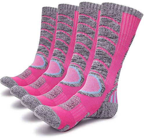 Gosuban 2 Pairs Antiskid Wicking Outdoor Multi Performance Hiking Cushion Socks for Men and Women, Assort Colors(2 Pack - Male Pink Color