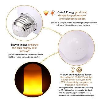 OOFAY LIGHT® Flamas parpadeantes Bombilla LED Vintage Pared Linterna Lámpara de Mood con Efecto de Fuego Emulación para Decoración de Jardín (5 unidades): ...