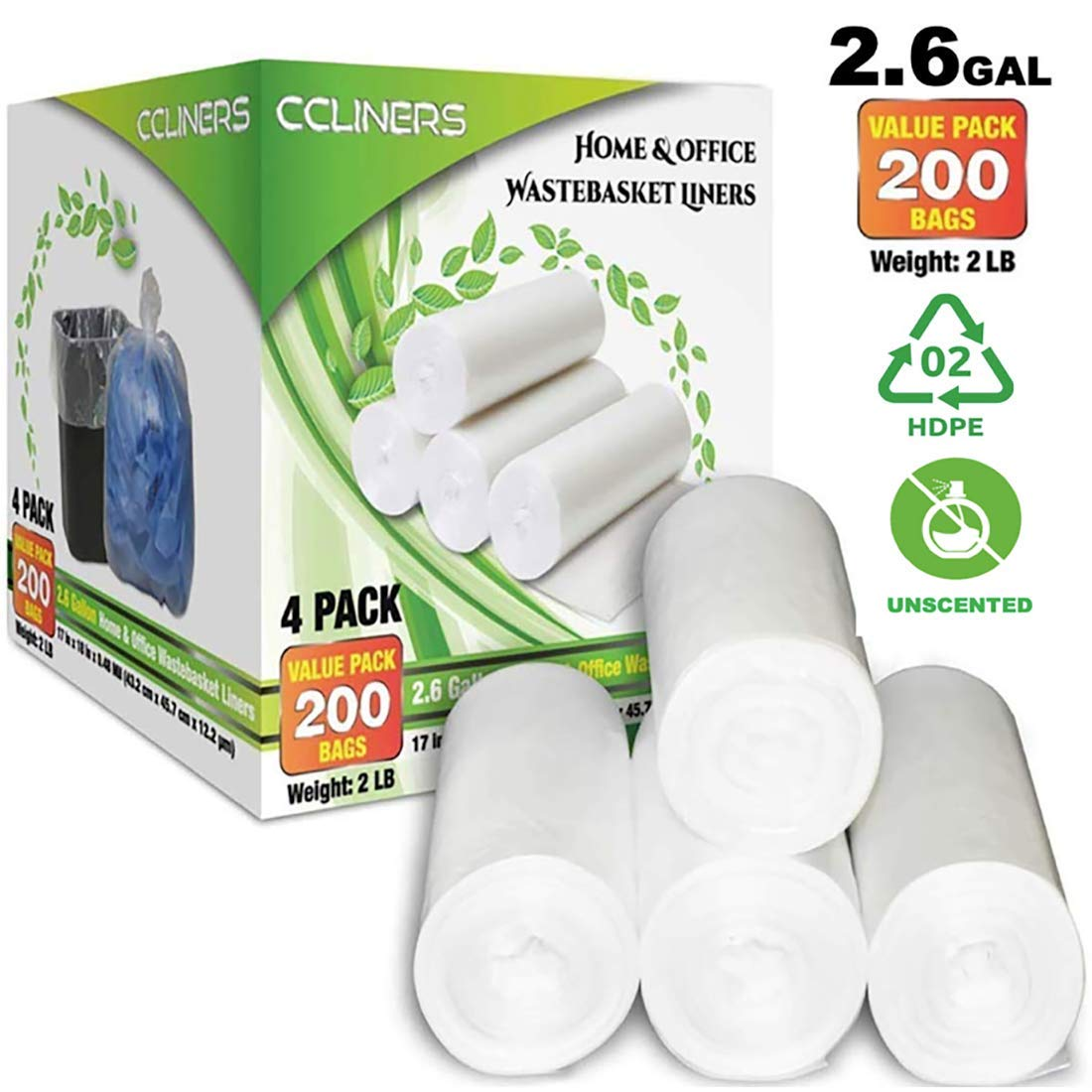 2.6 Gallon Clear Small Trash Bags Bathroom Garbage Bags 10 Liter Plastic Wastebasket Trash Can Liners for Home and Office Bins, 200 Count