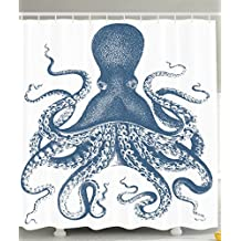 Ambesonne Kraken Shower Curtain Octopus Decor by for Baby, Sea Creatures Sea Life Nautical Blue, Polyester Fabric Bathroom Set with Hooks, 69 x 70 Inches Long, Blue