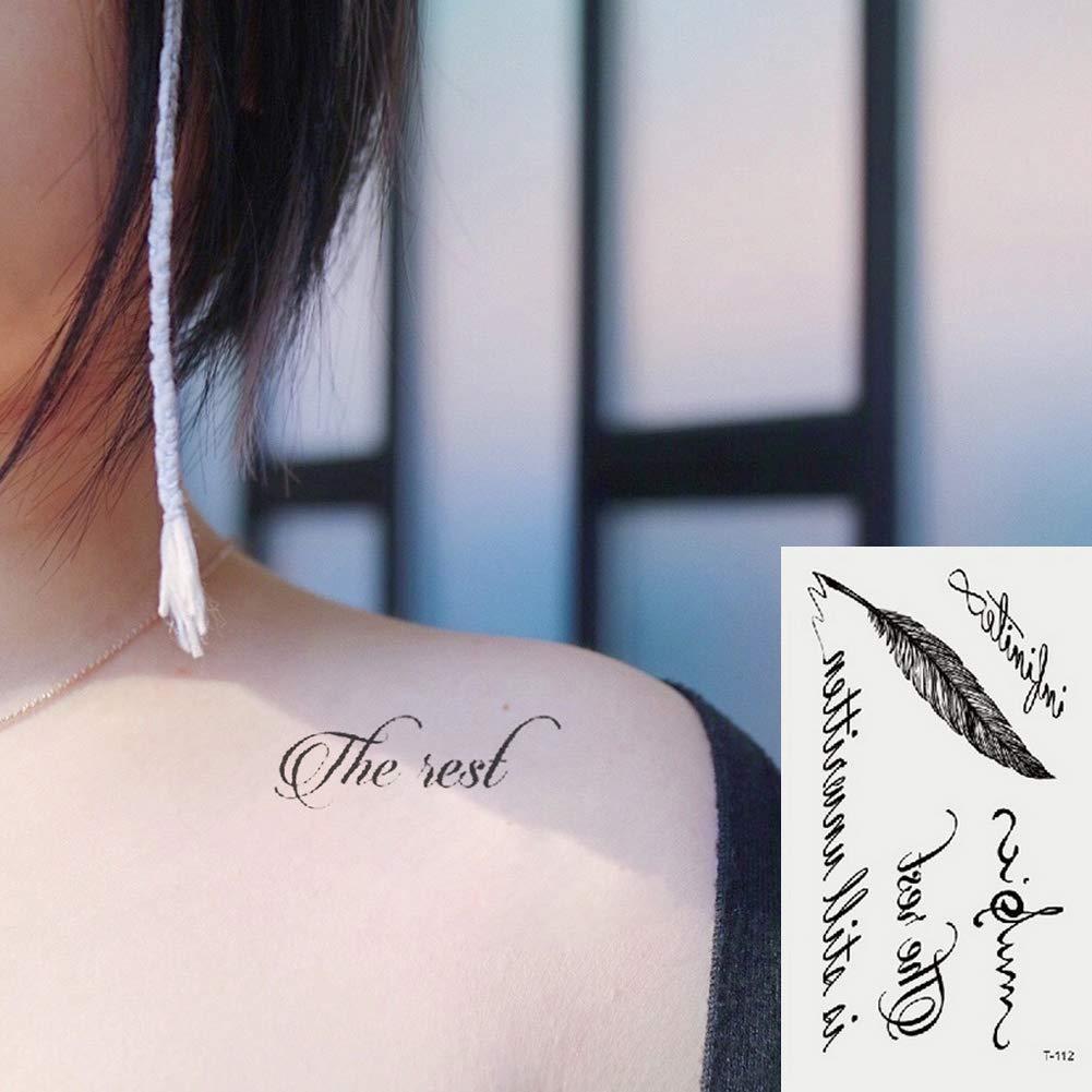 Oottati 2 Hojas Pequeño Lindo Tatuaje Temporal Tattoo Pluma ...