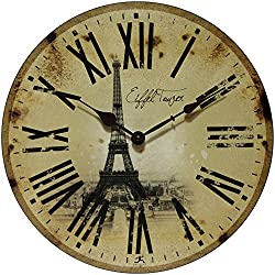 Infinity Instruments Eiffel Tower Clock, Beige