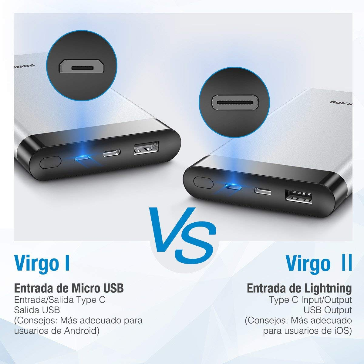 POWERADD VirgoⅡCargador portátil, Power Bank de 10000mAh con Pantalla LED Digital Entrada de Type-C y Lightning para iPhone, iPad, iPod, Samsung, Nintendo, Huawei (Cable USB Tipo C y Lightning Cable Incluidos)-Argentado
