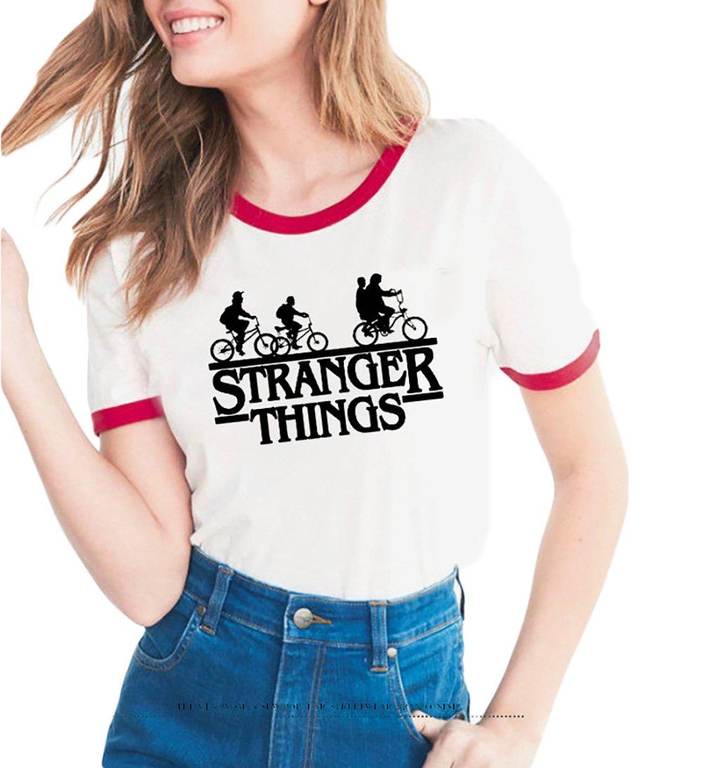 Women's Stranger Things Print Short Sleeve O-Neck T Shirt Blouse Summer T-Shirt