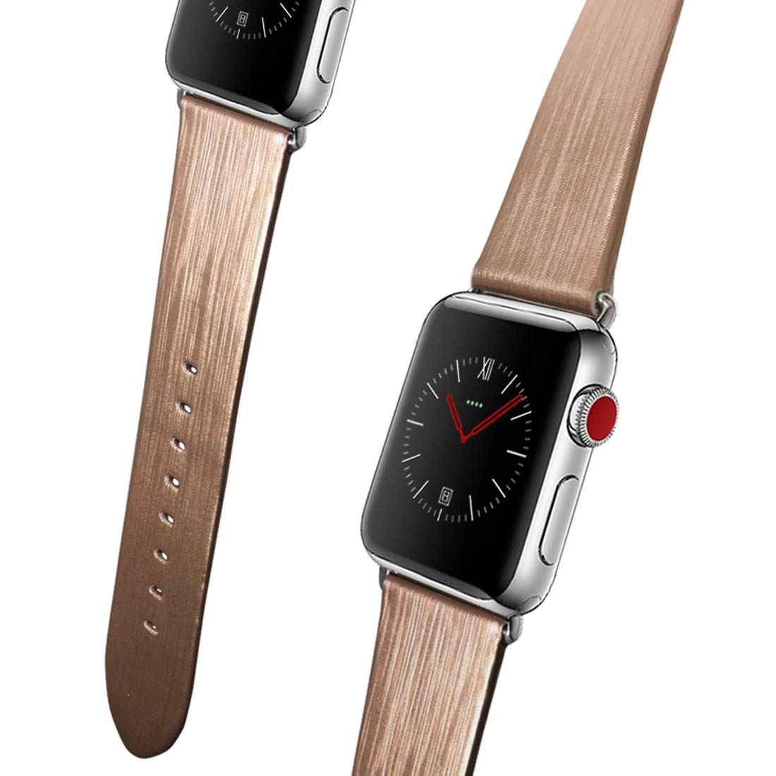 for Apple Watch Band, 44mm 42mm 40mm 38mmiWatch Band Genuine Leather Strap Stainless Metal Buckle for Apple Watch Series 4, Series 3, Series 2,Sport & ...