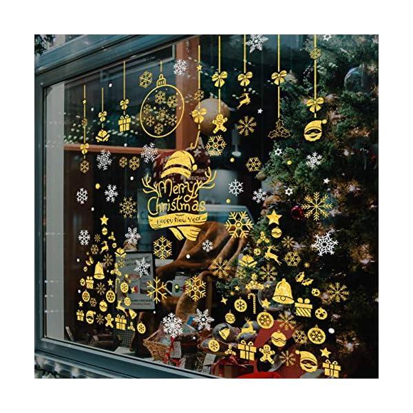 WOKKOL Decorazioni Natalizie, Vetrofanie Natale Finestre, Adesivi Vetro Natalizi, Rimovibile Adesivo Fiocco di Neve Fa Casa Piena di Atmosfera Natalizia (Gold & Silver Color-10PCS -2 Styles) 4 spesavip