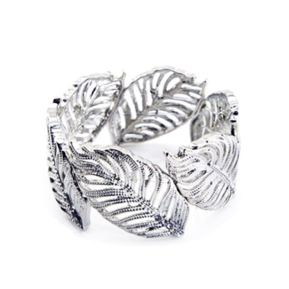 TrinketSea Women Cuff Bracelets Silver Hollow Leaves Crystal Design Elastic Bracelets for Girl