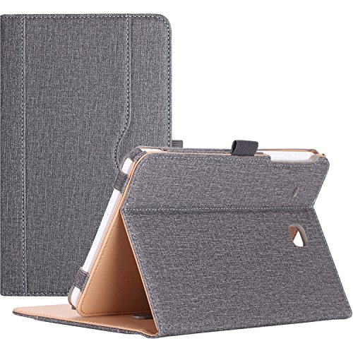 ProCase Samsung Galaxy Tab E 8.0 Case - Leather Stand Folio Case Cover for Galaxy Tab E 8.0 4G LTE Tablet (Sprint,US Cellular, Verizon) SM-T377, Multiple Viewing Angles, Document Card Pocket (Grey)