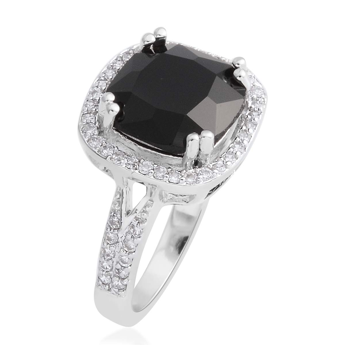 Shop LC Delivering Joy Cushion Black Cubic Zirconia Statement Ring for Women Cttw 4.8 Jewelry Gift