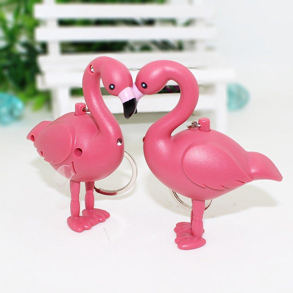rose sundatebe Cartoon Flamingo LED Taschenlampe Sound Schl/üsselanh/änger Ring Tasche zum Aufh/ängen Anh/änger Geschenk Einheitsgr/ö/ße