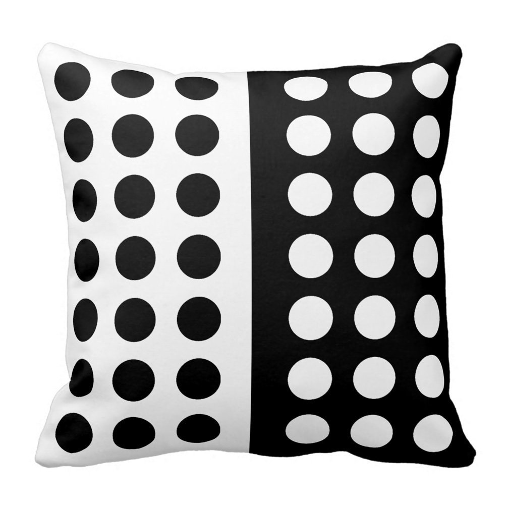 Black and White Polka Dot Throw Pillow Square Decorative Throw Pillow Case Cushion Cover Outdoor